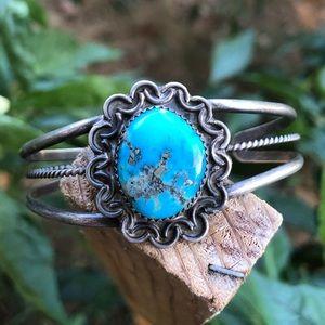 Vintage Navajo Morenci Turquoise Cuff Bracelet